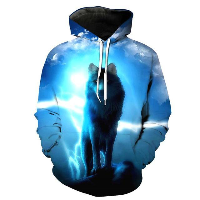 Animal Hoodies - 3D Unisex Pull Over Hoodie - Thunder Wolf
