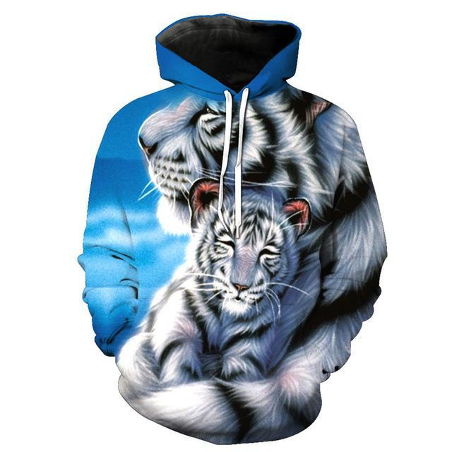 Animal Hoodies - 3D Unisex Pull Over Hoodie - Tiger Mom&Son