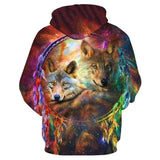 Animal Hoodies - 3D Unisex Pull Over Hoodie - Two Wolves