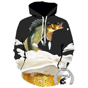 Fishing Hoodies - 3D Print Unisex Pull Over Hoodies - Walleye&Beer