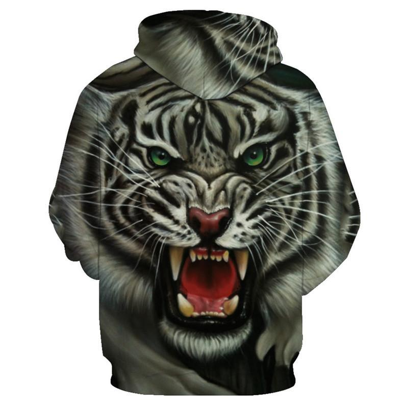 Animal Hoodies - 3D Unisex Pull Over Hoodie - White Tiger Face