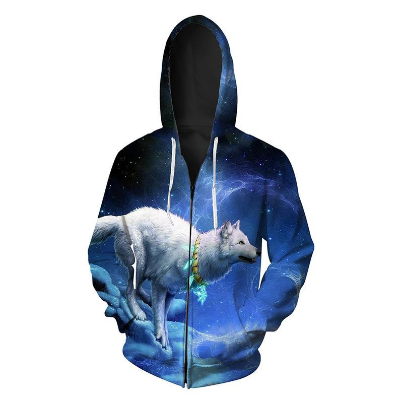 Animal Hoodies - 3D Unisex Pull Over Hoodie - White Wolf