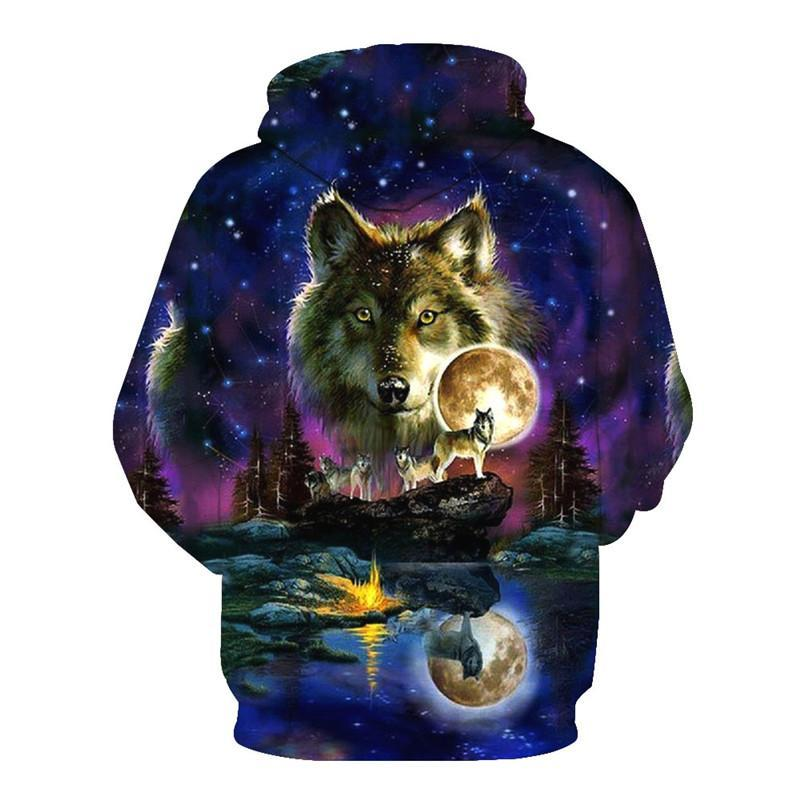 Animal Hoodies - 3D Unisex Pull Over Hoodie - Wild Wolves