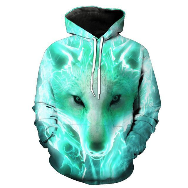 Animal Hoodies - 3D Unisex Pull Over Hoodie - Lightning Wolf