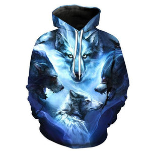 Animal Hoodies - 3D Unisex Pull Over Hoodie - Wolf Fantasy