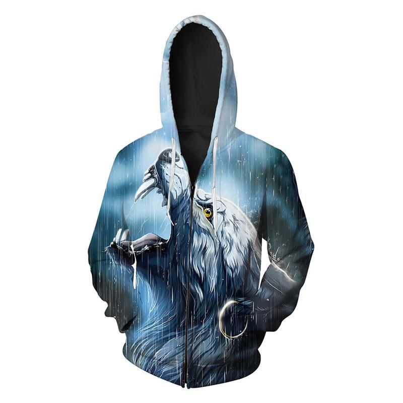 Animal Hoodies - 3D Unisex Pull Over Hoodie - Wolf In The Rain