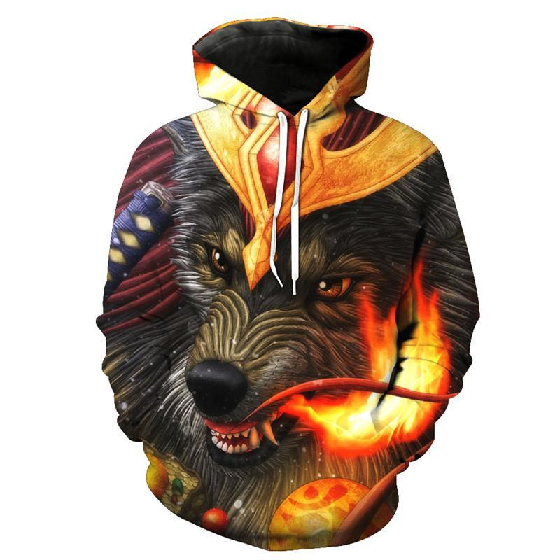 Animal Hoodies - 3D Unisex Pull Over Hoodie - Fighting Wolf