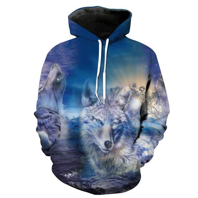Animal Hoodies - 3D Unisex Pull Over Hoodie - Peaceful Wolf