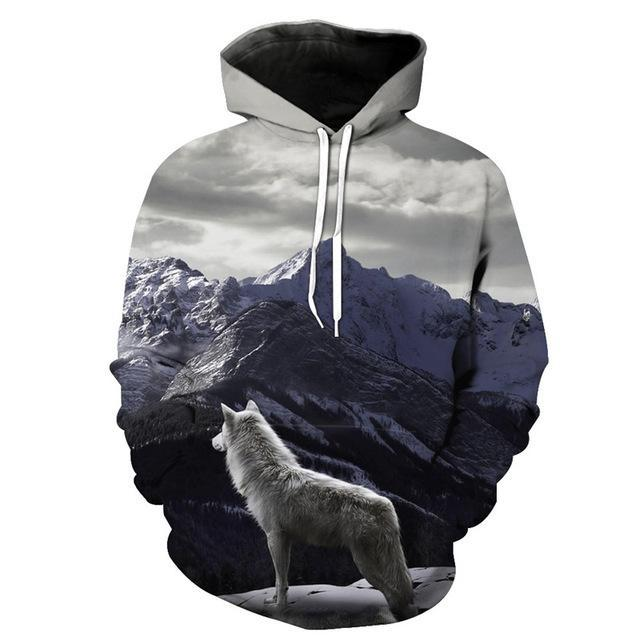 Animal Hoodies - 3D Unisex Pull Over Hoodie - Wolf On The Mountain