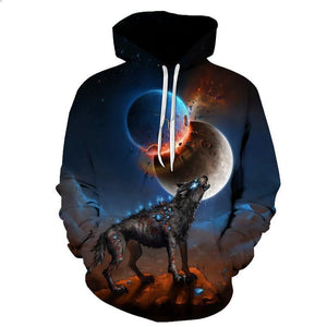 Animal Hoodies - 3D Unisex Pull Over Hoodie - Wolf Space