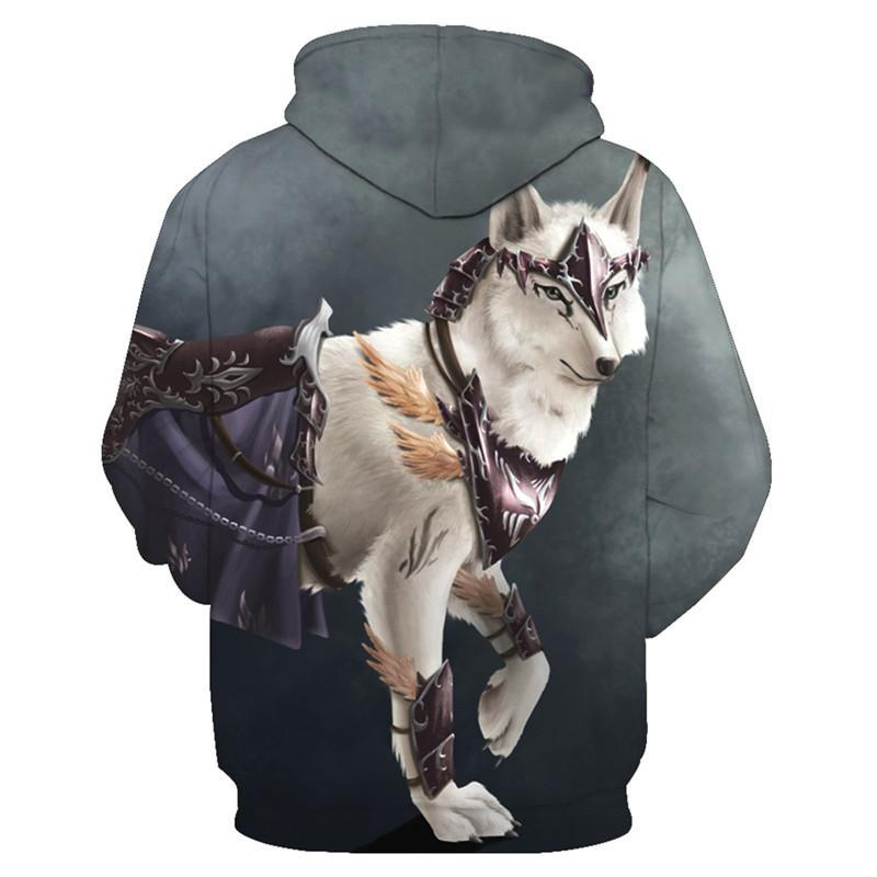 Animal Hoodies - 3D Unisex Pull Over Hoodie - Wolf Warrior