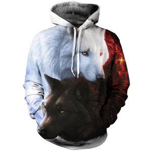 Animal Hoodies - 3D Unisex Wolf Hoodies - Yin Yang Fire Ice Wolves