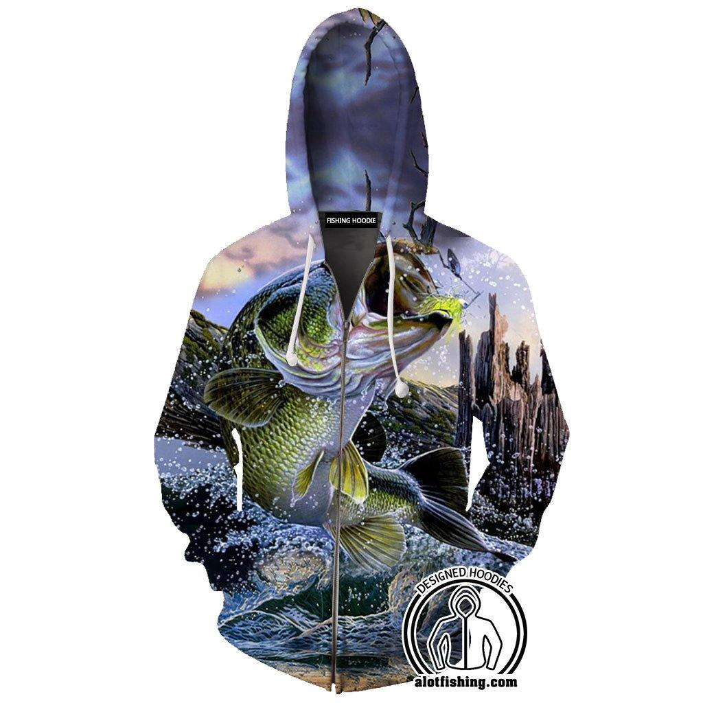 Fishing Hoodies - 3D Print Unisex Zip Up Hoodies - Bass