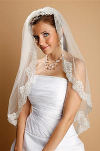 Mantilla Lace Wedding Veil Threaded with Silver Chain - Elegant Bridal Designs