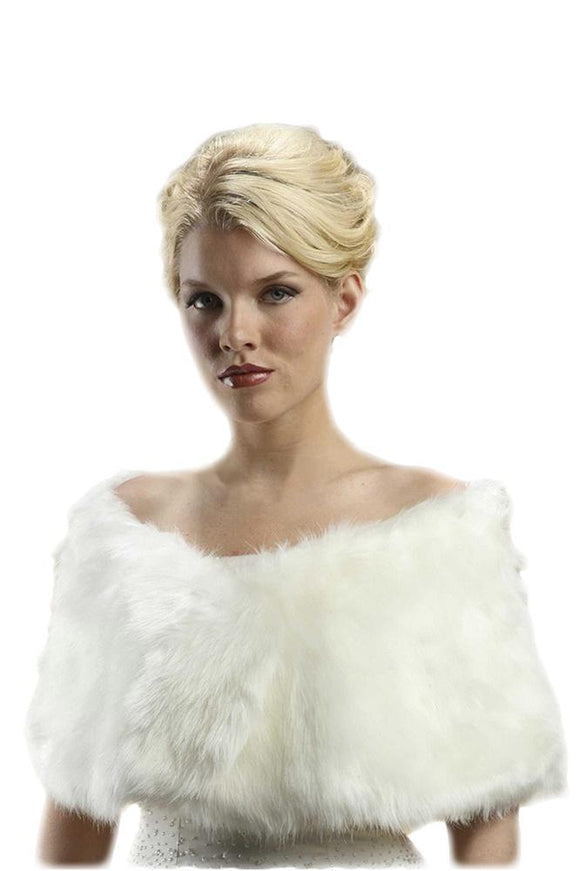 Faux Fur Ivory Cream Bridal Wrap - Elegant Bridal Designs