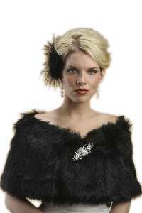 Faux Fur Jet Black Bridal Wrap - Elegant Bridal Designs