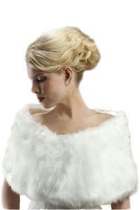 Faux Fur Pure White Bridal Wrap - Elegant Bridal Designs