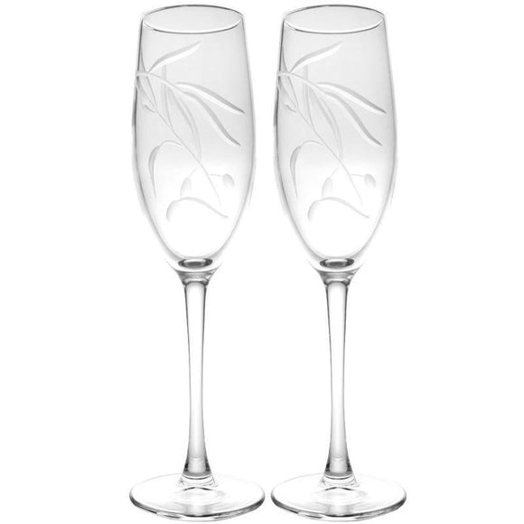 Rolf Glass Olive Brance Champagne Flutes 8 oz. (Set of 2 or 4) - Elegant Bridal Designs