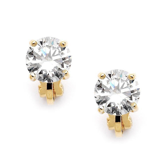 Clip-On Earrings with 2 Carat 8mm CZ Solitaire - Elegant Bridal Designs