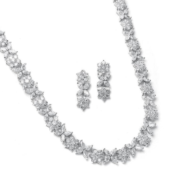 Cubic Zirconia Necklace Set with CZ Marquis Flowers - Elegant Bridal Designs