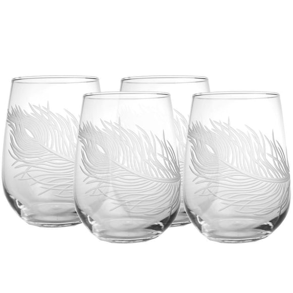 Rolf Glass Peacock Feather Stemless 17 oz. Wine Glass Tumbler (Set of 4) - Elegant Bridal Designs