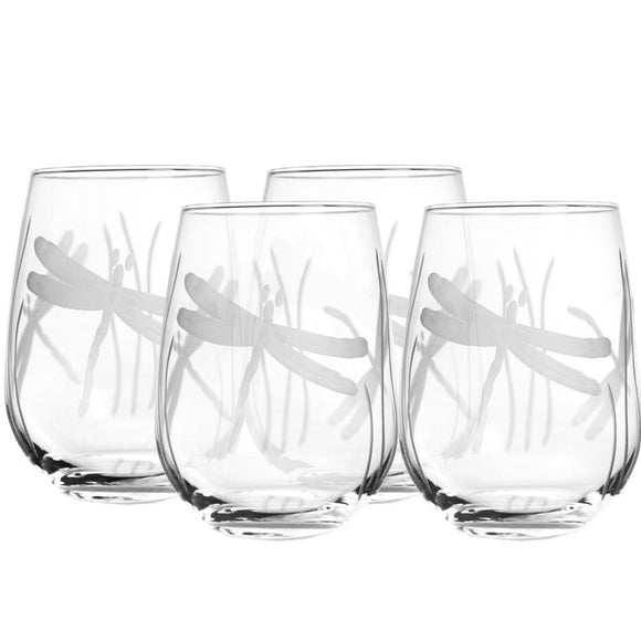 Rolf Glass Dragonfly Stemless 17 oz. Wine Glass Tumbler (Set of 4) - Elegant Bridal Designs
