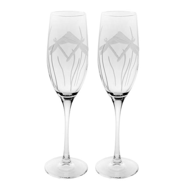 Rolf Glass Dragonfly Champagne Flutes 8 oz. (Set of 2 or 4) - Elegant Bridal Designs