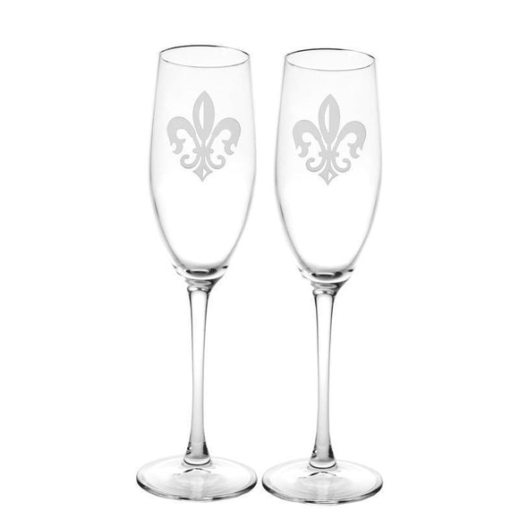 Rolf Glass Fleur De Lis Champagne Flutes 8 oz. (Set of 2 or 4) - Elegant Bridal Designs