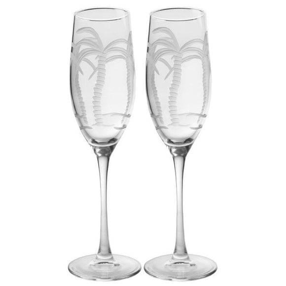 Rolf Glass Palm Tree Champagne Flutes 8 oz. (Set of 2 or 4) - Elegant Bridal Designs