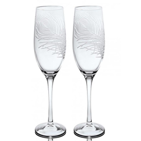 Rolf Glass Peacock Feather Champagne Flutes 8 oz. (Set of 2 or 4) - Elegant Bridal Designs