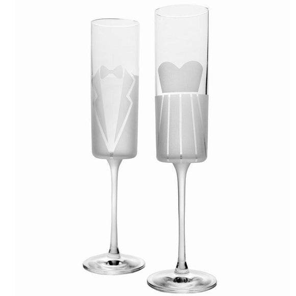 Rolf Glass Dress & Tux Wedding Cheers Champagne Flutes - Elegant Bridal Designs