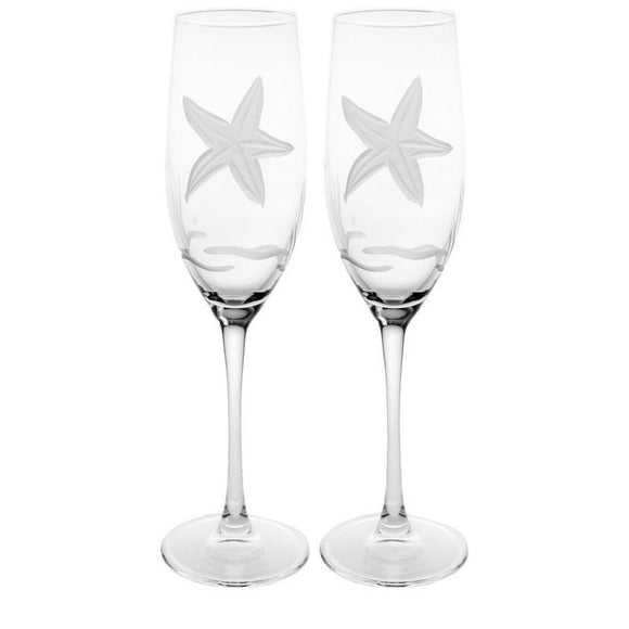 Rolf Glass Starfish Champagne Flutes 8 oz. (Set of 2 or 4) - Elegant Bridal Designs