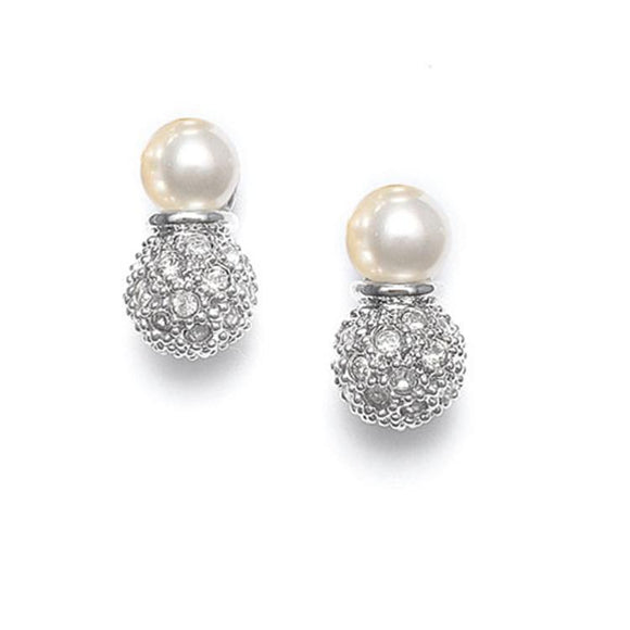 Ivory Pearl Bridal Earrings with Pave CZ Crystal Clusters - Elegant Bridal Designs