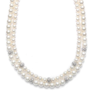 2-Row Ivory Pearl & Cubic Zirconia Bridal Necklace - Elegant Bridal Designs