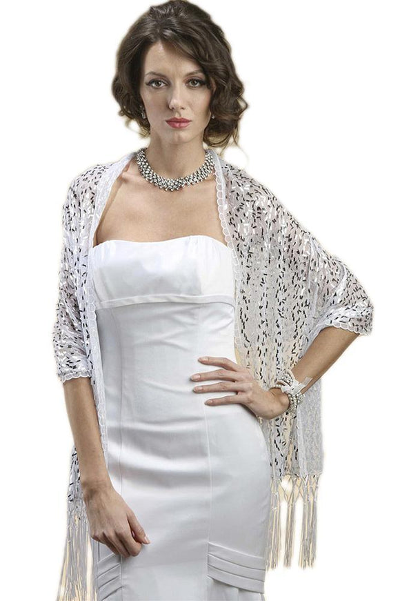 Confetti Sequin Mesh Wrap or Shawl - Elegant Bridal Designs