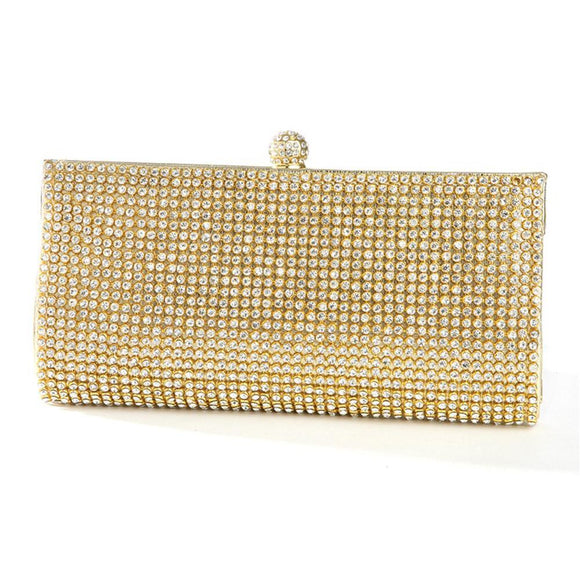 Gold Evening Bag with Bezel Set Crystals - Elegant Bridal Designs
