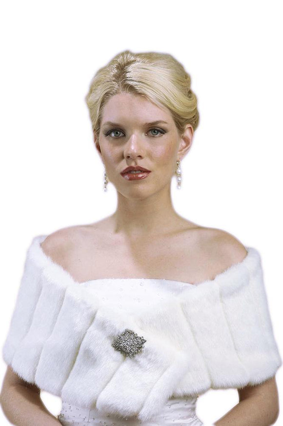 Pelted Faux Fur Wrap - Elegant Bridal Designs