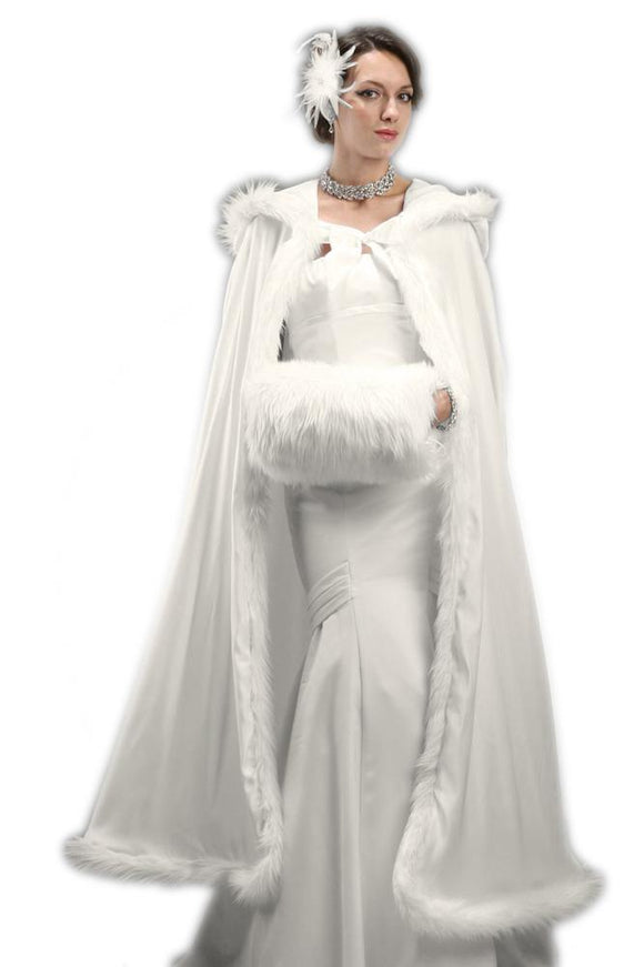 Full Length Hooded Ivory Satin Bridal Cloak - Elegant Bridal Designs
