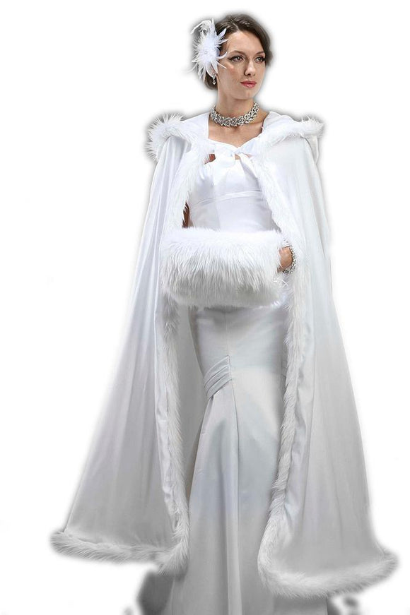 Full Length Hooded White Satin Bridal Cloak - Elegant Bridal Designs