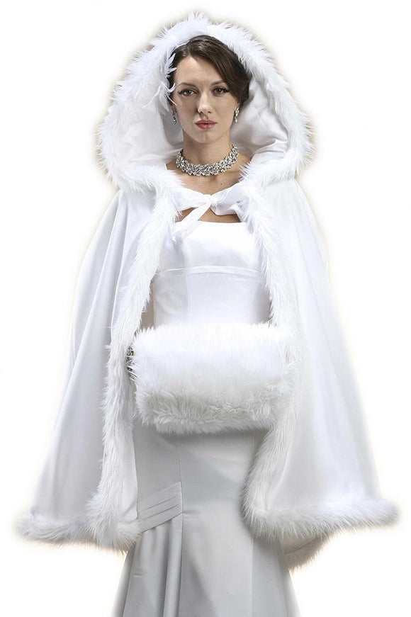 Mid Length Hooded White Satin Bridal Cloak - Elegant Bridal Designs