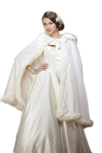Mid Length Hooded Ivory Satin Bridal Cloak - Elegant Bridal Designs