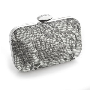 Lacey Evening Minaudiere with Silver Shimmer - Elegant Bridal Designs