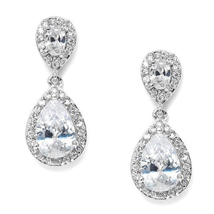Lustrous Cubic Zirconia Teardrop Wedding Earrings - Elegant Bridal Designs