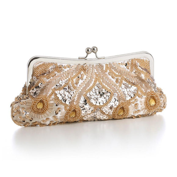 Champagne Evening Bag with Beads, Sequins & Gems - Elegant Bridal Designs