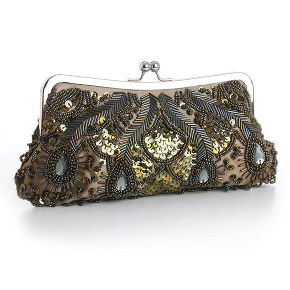 Olive Green Evening Bag with Beads, Sequins & Gems - Elegant Bridal Designs