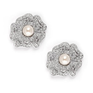 Vintage Cubic Zirconia Pave Flower Wedding Earrings with Pearl - Elegant Bridal Designs