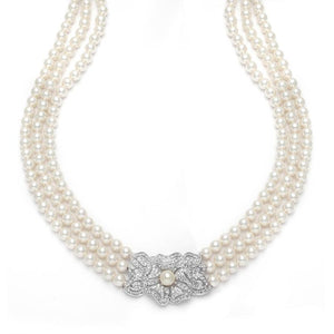 3-Row Pearl & Cubic Zirconia Vintage Wedding Necklace - Elegant Bridal Designs