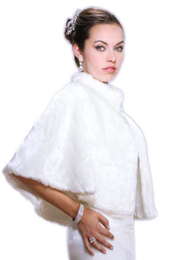 Faux Mink Pelted Fur Bridal Cape - Elegant Bridal Designs