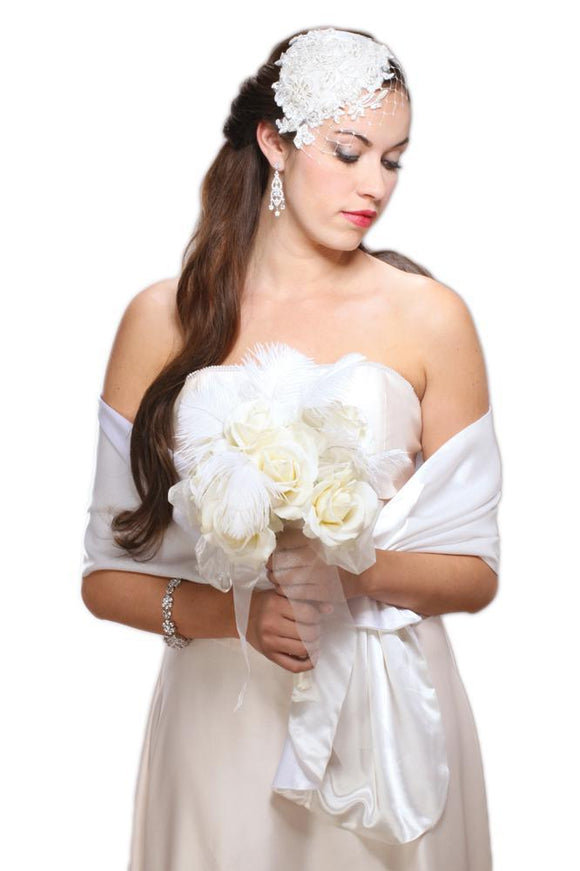 Reversible 2-Tone Bridal Wrap in White & Ivory - Elegant Bridal Designs
