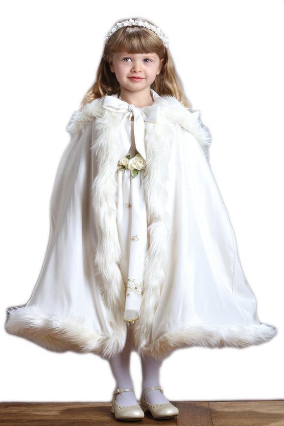 Children's Ivory Hooded Satin Cloak with Faux Fur Trim - Elegant Bridal Designs